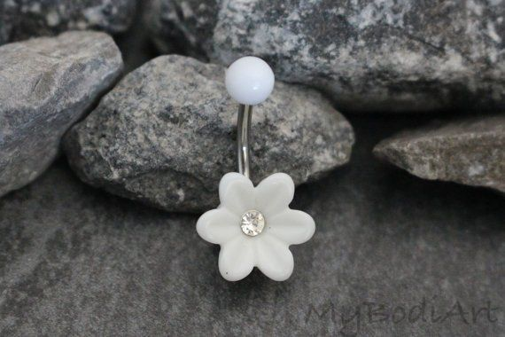 Flower Belly Button Ring Piercing at MyBodiArt