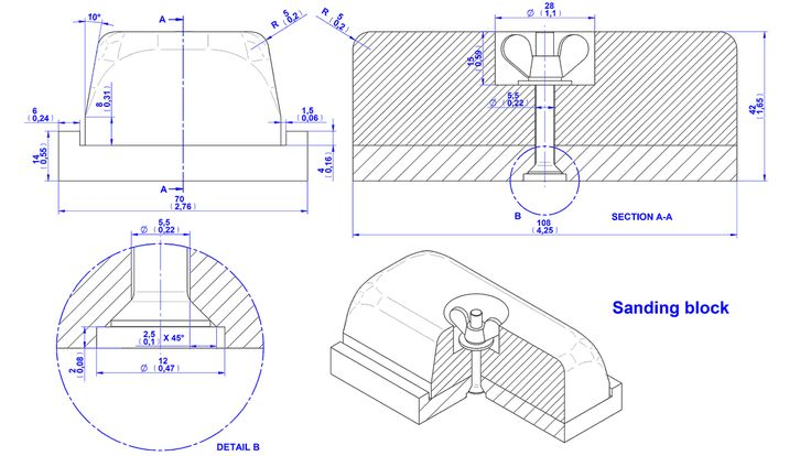 Wooden base sanding block plan– Assembly drawing