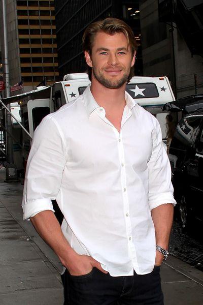 Chris Hemsworth outside The David Letterman Show #romancingthejoan