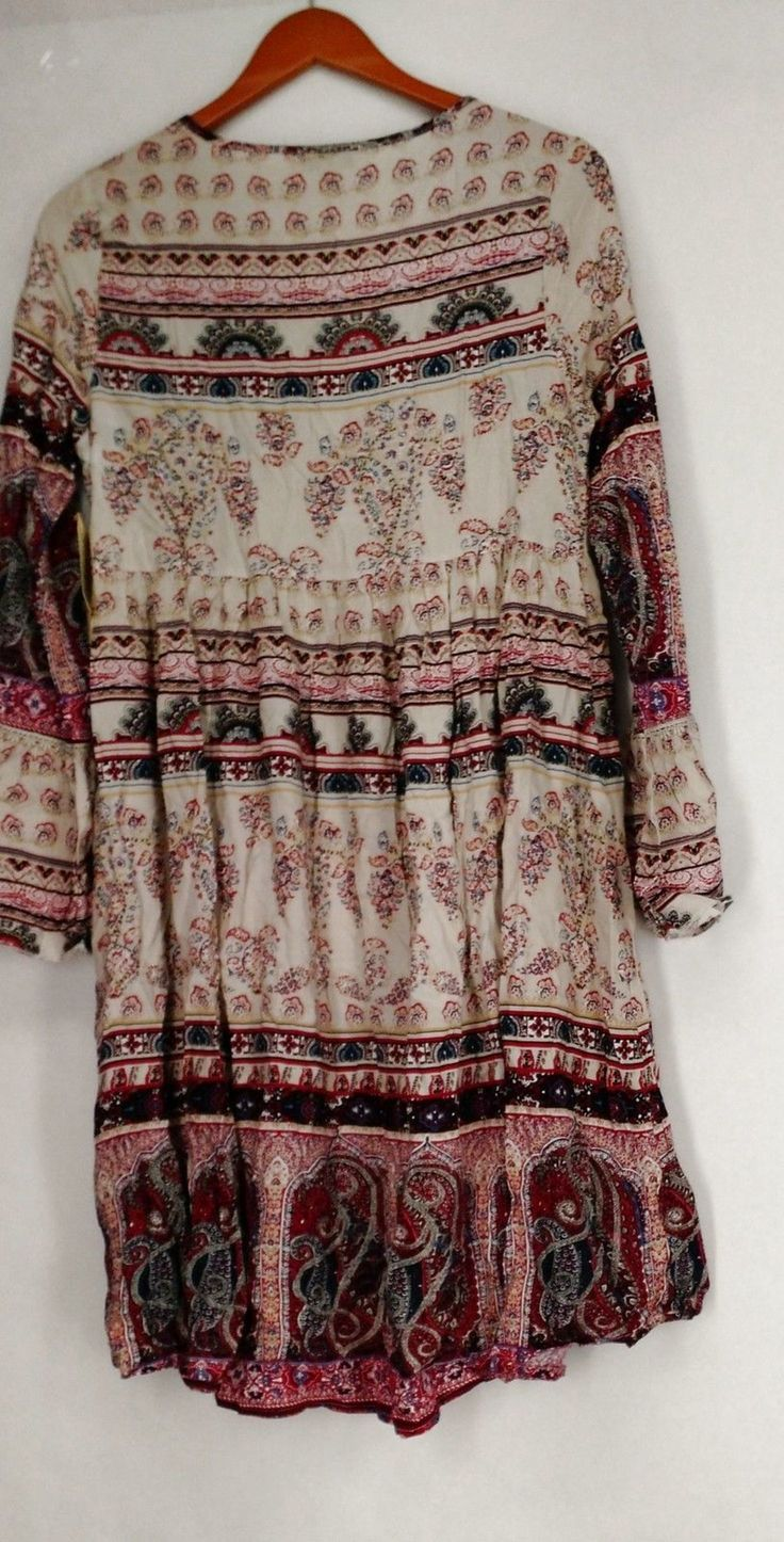 One World Dress S Bell Sleeve Challis Peasant Hi Low Dress Red NEW $12.99