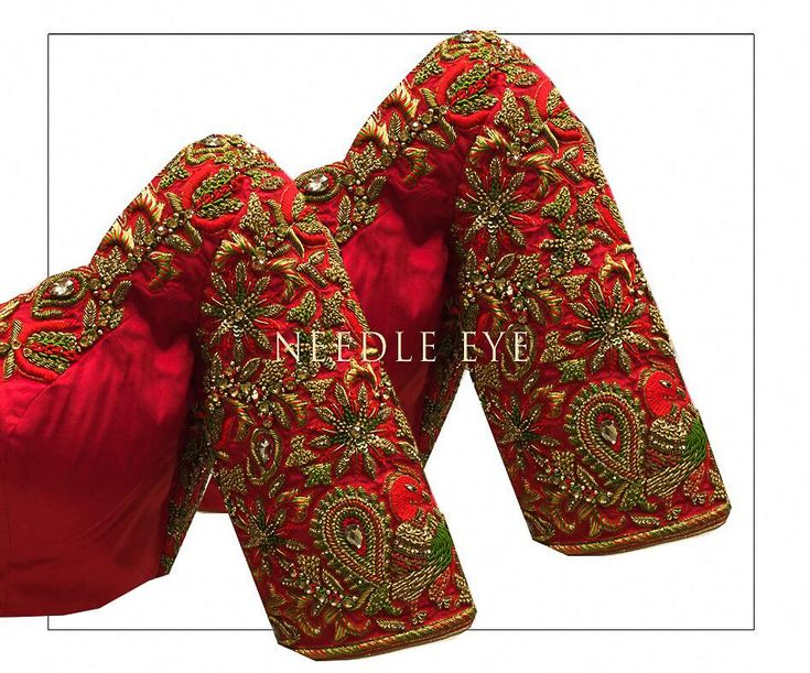 A magical colour combination .Stunning red color bridal designer blouse with floral design hand emrbdoeriy thread and zardosi work from Needle Eye. 30 November 2017