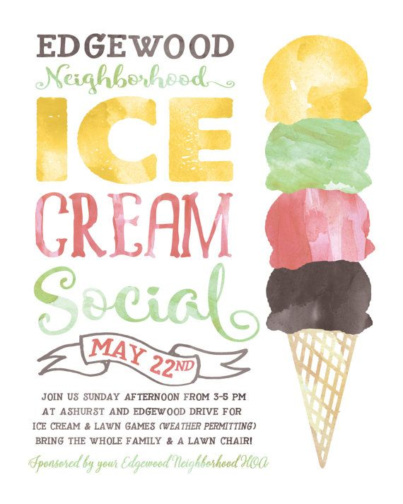 Ice Cream Social Flyer ELECTRONIC Print file Kids by BrossieBelle