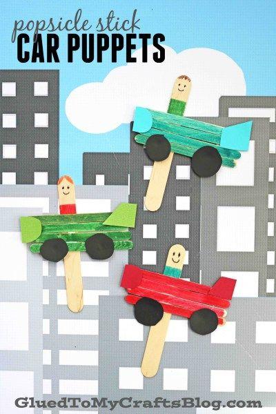 Popsicle Stick Car Puppets - Kid Craft Idea