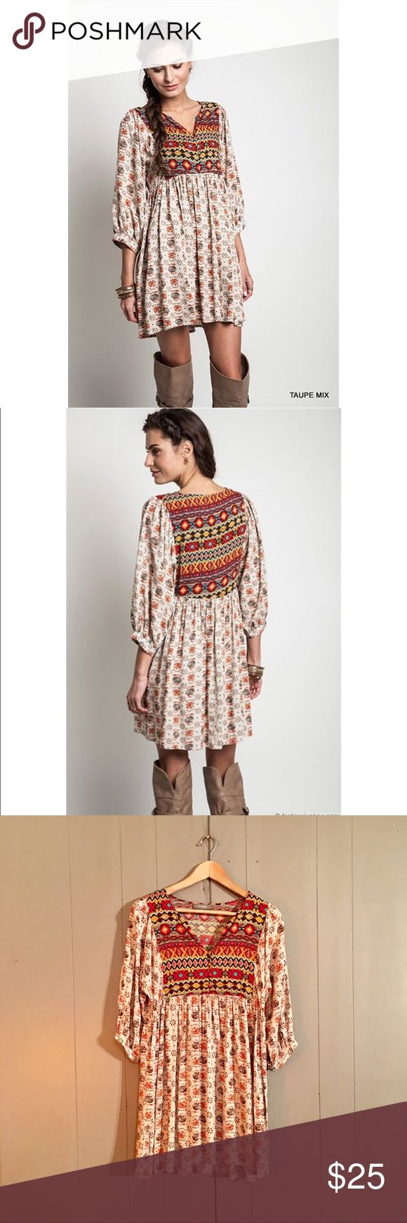Boho Tribal Print Babydoll Tunic Dress Adorable lightweight dress! Perfect for any season. Excellent used condition. Offers are welcome. Umgee Dresses Mini
