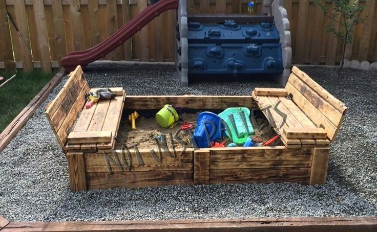 Recycled pallet Sandbox with benches that turn into a lid check us out at www.notjustpallets.ca