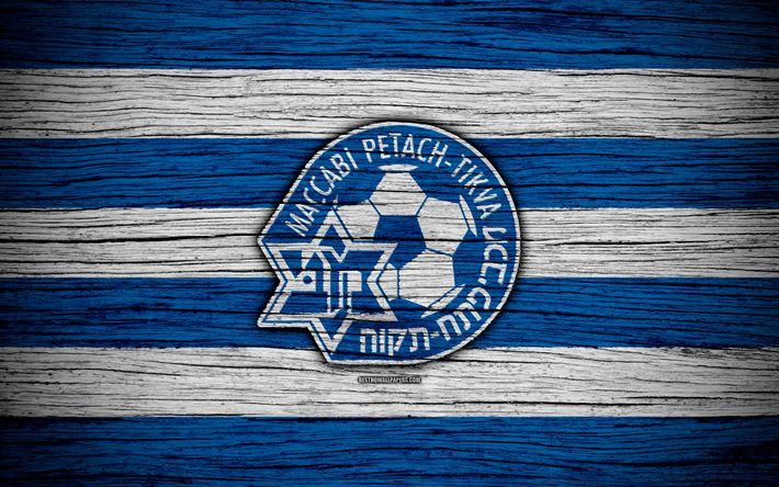 Download wallpapers Maccabi Petah Tikva, 4k, Israel, Ligat haAl, logo, football club, Maccabi Petah Tikva FC, soccer, wooden texture, FC Maccabi Petah Tikva