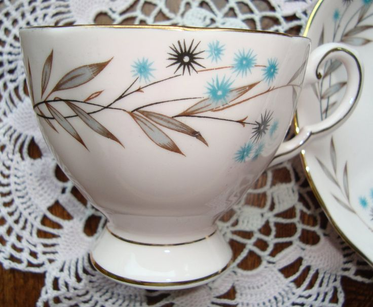 """Royal Tuscan """"Southern Star""""  Fine Bone China Made in England - Vintage Tea Cup and Saucer - Blue Flowers, Grey Leaves on a Pink Background by OfftheShelf2015 on Etsy"""