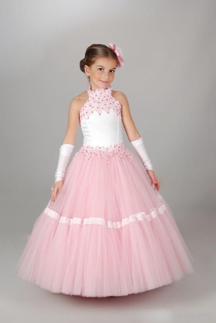 Lovely Halter Lace Flower Girls Dresses for Weddings Quinceanera Gowns Girls Pageant Gowns Girls Clothes Handmade Kids Ball Dresses Gowns Pink Children Prom Dresses