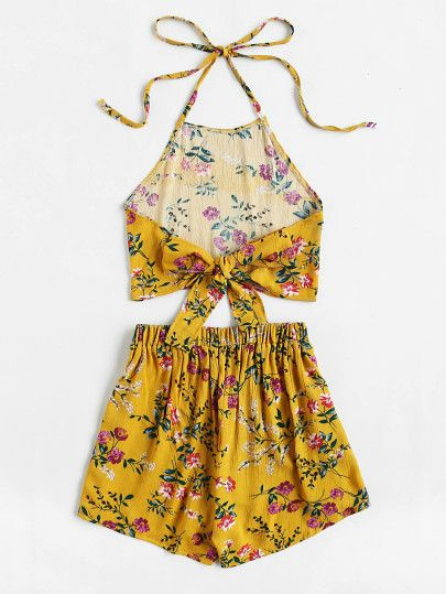 Floral Print Random Tie Open Back Crop Top With Shorts
