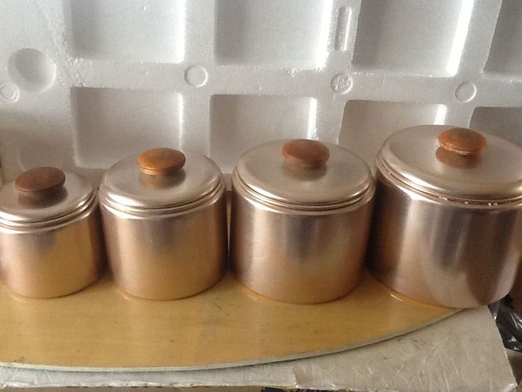 Vintage Mid Century Modern MCM Art Deco MIRRO Copper Color Aluminum Canister  Set In Home