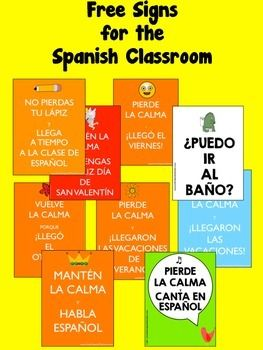 Free signs for the Spanish classroom.