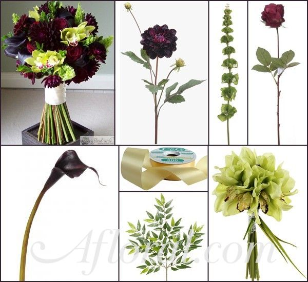 Elizabeth's Dark Purple Burgundy & Green Autumn Wedding Flower Inspiration Board | Afloral.com Wedding Blog