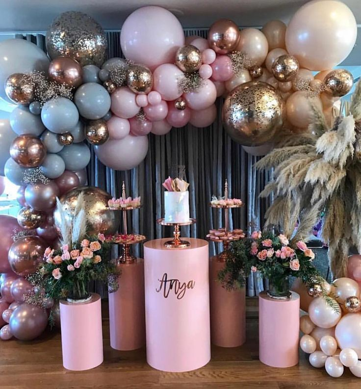 pink and gold party decor – Birthday