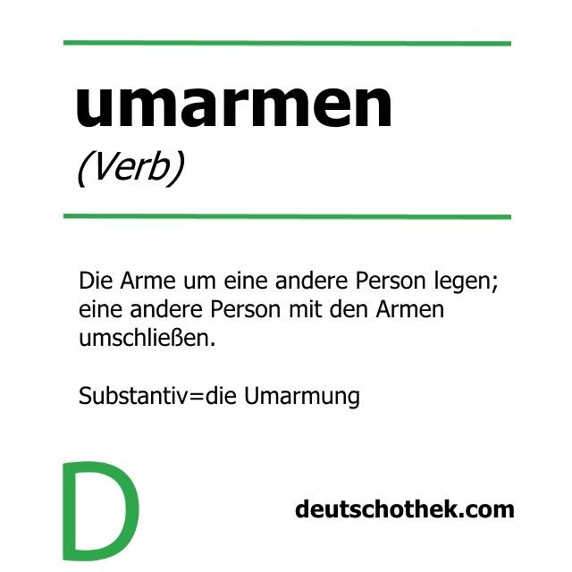 "Unser Wort der Woche passt zum heutigen ""Tag der Umarmung"", der vor allem in den USA weit verbreitet ist.   Our Word of the Week goes with today's ""National Hugging Day"", which is especially popular in the US.  #Deutschothek #Deuschtkurse #deutscheSprache #Deuschtlernen #Sprachkurs #Sprachschule #languageschool #languagecourse #germanlanguage #learnGerman #umarmen #umarmung #nationalhuggingday #hugging"