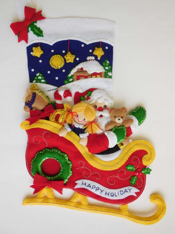 Finished Christmas Stocking Santa's Sleigh por JoysofChristmas