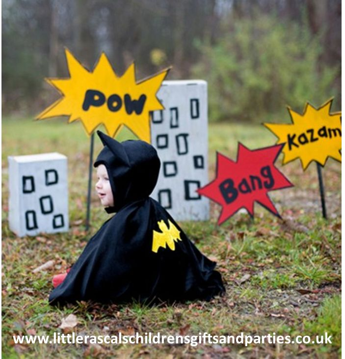 Nana nana nana nana, nana nana nana nana Bat Kid!!!  How cute is this little guy!  Little boys, and girls at that, will live this bat cape with hood.  Also comes in a large size to avoid sibling rivalry.  £20.00 http://www.littlerascalschildrensgiftsandparties.co.uk/#!toddler-fancy-dress-costumes/c217y