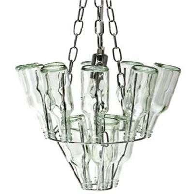 89 best images about glass on pinterest reuse plastic bottles bottle wall and bottle garden - Glass bottle chandelier ...