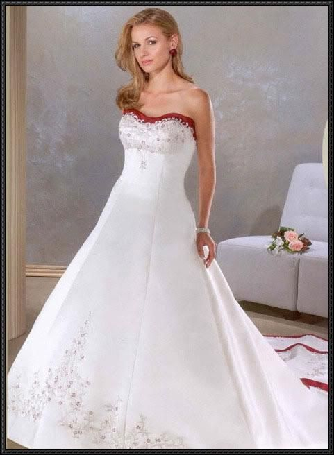 Wedding dress with red embroidery