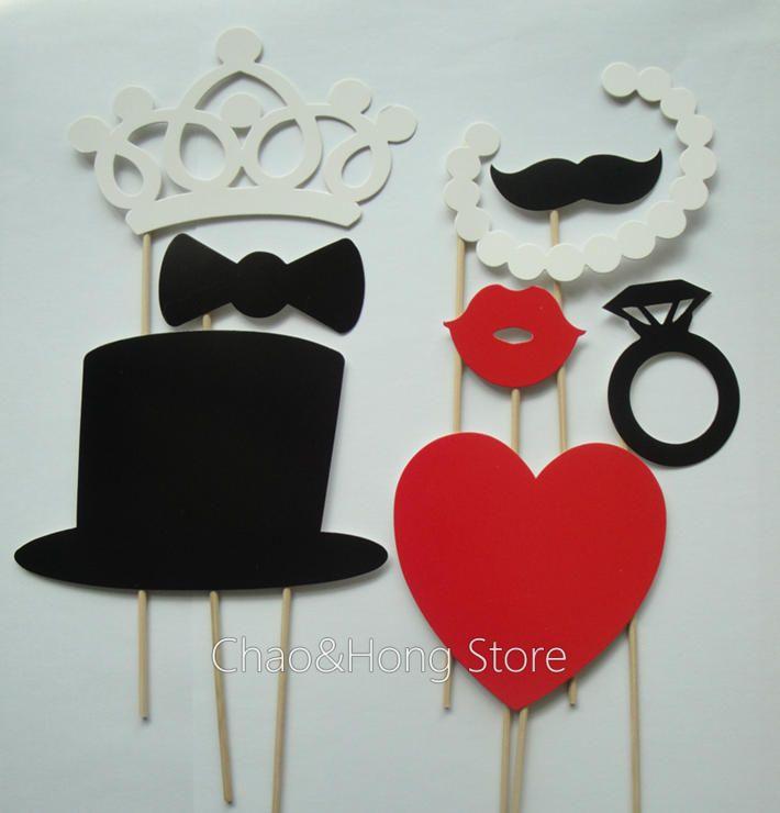Envío gratis 8 pcs/conjunto mini funny máscara de fiesta de la boda de la fotografía photo booth corona de novia corbata de lazo de vidrio apoyo un bigote. D