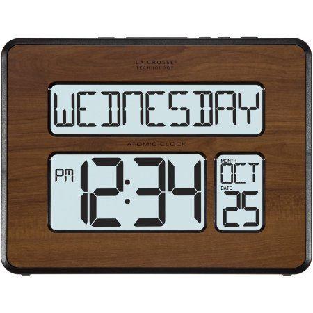La Crosse Technology 513-1419BL-WA Backlight Atomic Full Calendar Digital Clock with Extra Large Digits, Walnut, Brown
