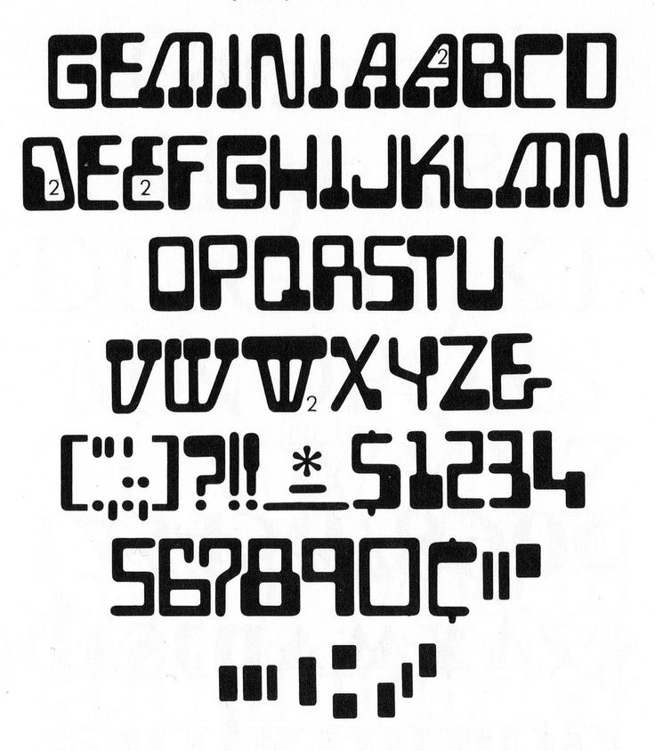 https://flic.kr/p/r3vwd7 | Gemini (AKA Gemini Computer or Sonic) | From Phil's Photo: Homage to the Alphabet, 1980.  Designer and date unknown (circa 1970). Like Computer and Data 70, Gemini is an alphabetic extension of the MICR aesthetic, but more wonky than those other interpretations. Mattel Electronics tamed it for their logo.  Gemini at Fonts In Use »
