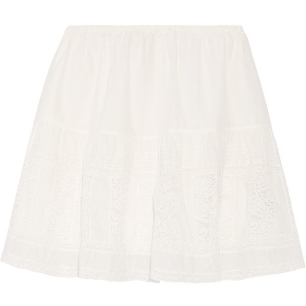 The Great - Jubilee Lace-paneled Cotton-voile Mini Skirt ($146) ❤ liked on Polyvore featuring skirts, mini skirts, white, short skirts, mini skirt, white mini skirt, white skirt and pull on skirts