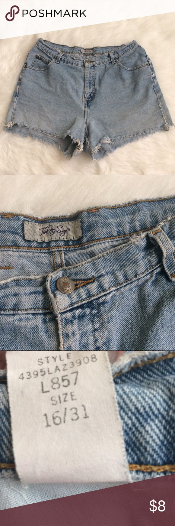 """Just My Size Vintage Cutoffs Pre-owned condition. Light wash and high waist. Size 16 (older sizes run different) so these fit more like a 12-14. 100% cotton and no stretch. Measurements: 16.5"""" waist, 13"""" rise, 3"""" inseam. Wear and tear along the inseam that can probably be fixed. Just My Size Shorts Jean Shorts"""
