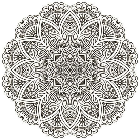 Mandala Round Ornament Pattern Vintage decorative elements Hand drawn background Islam Arabic Indian Stock Vector: