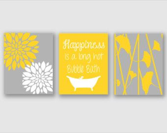 Modern Bath Art - Modern Floral Flower Artwork - Set of 3 - Trio Prints -Yellow and Gray Bathroom Wall Art - Bathroom Decor - Bathroom Art