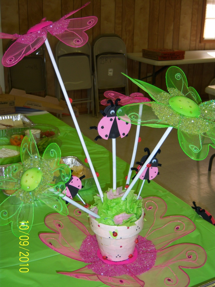 This ladybug centerpiece was the first of my custom birthday parties for my grands. I began with a clay pot. Wrong color, of course, so I glued strips of pink paper onto it and added some stick on ladybugs. I purchased the flowers at Hobby Lobby  and made the ladybugs from craft foam. At the base of the pot I glued torn pieces of colored tissue paper to hide the mechanics of the centerpiece.