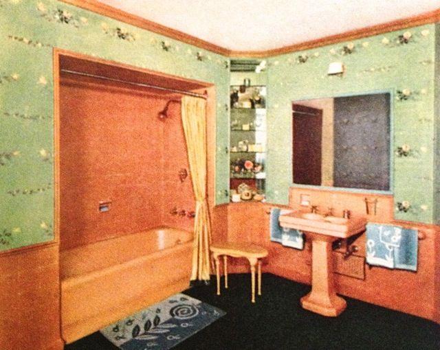 18 best images about vintage images on pinterest old for Vintage bathroom wallpaper