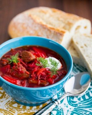 A must try this Ukrainian borscht recipe with beef for those of you who love a good piece of tender meat in your spoon. Serve with dollop of sour cream.