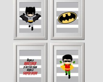 Batman wall art set of 3 PRINTS brother quote by AmysSimpleDesigns