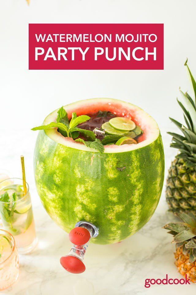 Watermelon Mojito Party Punch Rezept Mojito Wassermelone Sommerdrinks