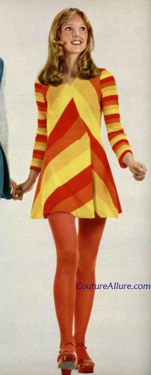 1971, dress by Daniel Hechter. Had one similar to this. Stripes were diagonal, in gold, hot pink, kelly green and bright turquoise!