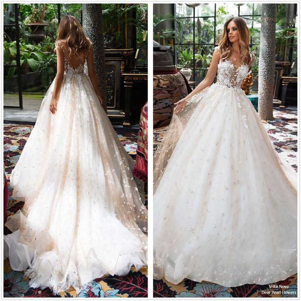 Discount 2018 Sheer Cap Sleeves Lace A Line Wedding Dresses Tulle Applique Wedding Bridal Gowns Court Train Backless Wedding Gowns Simple A Line Wedding Dress Slim Line Wedding Dresses From Finedreamdress, $238.2| DHgate.Com