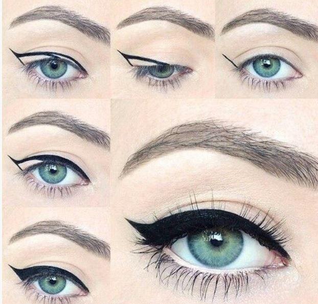 mettere l'eyeliner in modo più 'regolare' (ovviamente l'eyeliner sta bene con tutti i colori degli occhi)