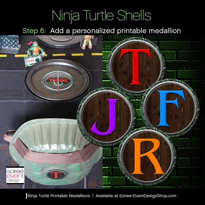 teenage mutant ninja turtles party supplies downlaod printables   DIY Teenage Mutant Ninja Turtle Party Decorations – Turtle Shells