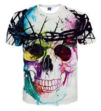 2016 Fashion Womens/Mens 3D Print Funny Colorful Skull Smile Casual T-Shirt Tops