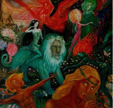 Художник Kadis. Утро весны | Фэнтези живопись мифология силы Природы нимфа лев | Купить картину у художника