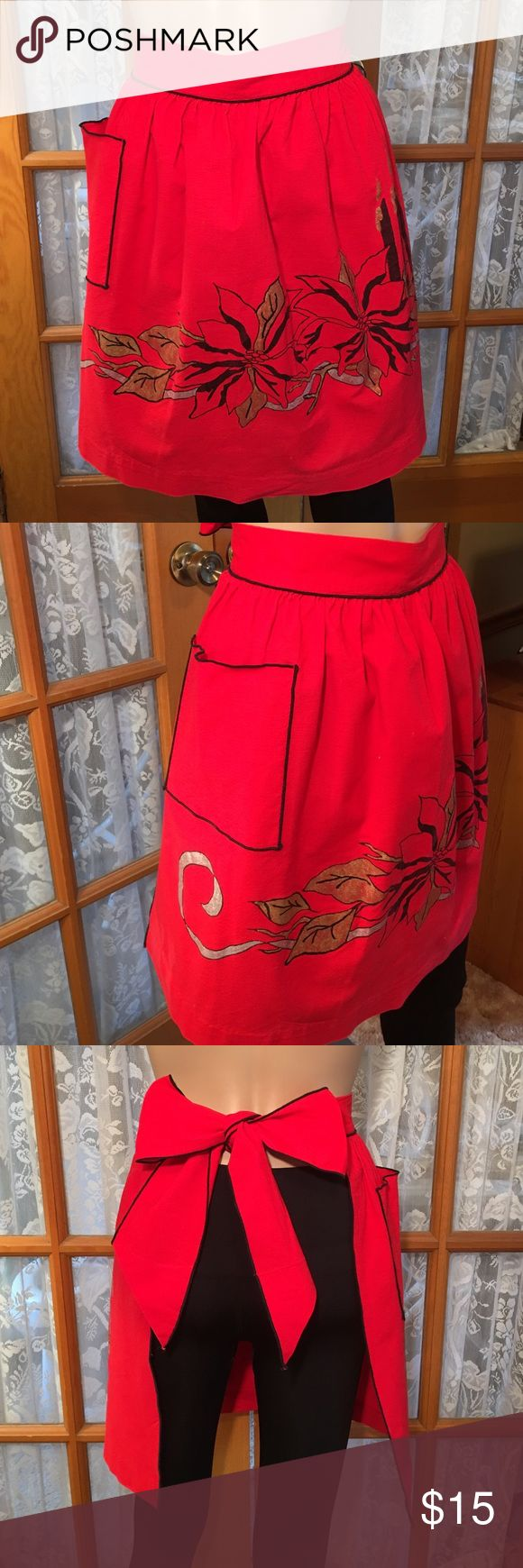 """💐Just In💐Vintage Handpainted Hand Sewn Apron I don't remember a time that I didn't have this apron. I have been married 46 years..... It is Hand painted. The hem is seen by hand. The trim looks perfect so I imagine a machine did that or if someone did it by hand, she was amazing. The front is 18"""" across. It is 19"""" long. The tie is 29"""" on each side. There is some slight damage that is an inch in length. Non smoking home Vintage Accessories"""
