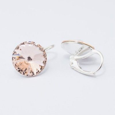Swarovski Rivoli Earrings 12mm Light Silk  Dimensions: length: 1,7cm stone size: 12mm Weight ~ 3,18g ( 1 pair ) Metal : silver plated brass Stones: Swarovski Elements 1122 12mm Colour: Light Silk 1 package = 1 pair Price 16,90 PLN(about 4 EUR)