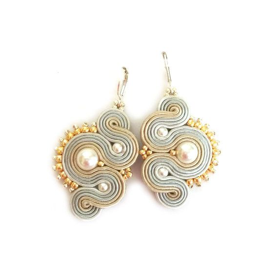 Soutache earrings - Dangle earrings - Glamour earrings - Neutral earrings - Beaded earrings - Christmas gift - Boucles d'oreilles - Pearls