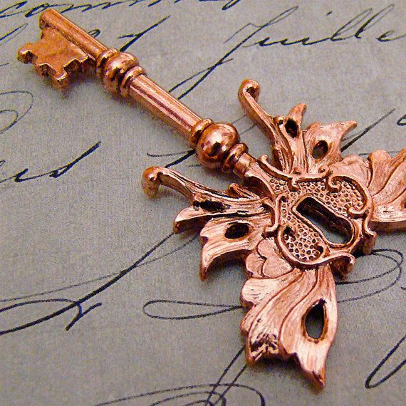 Steampunk Winged Skeleton key Art Nouveau BRIGHT COPPER