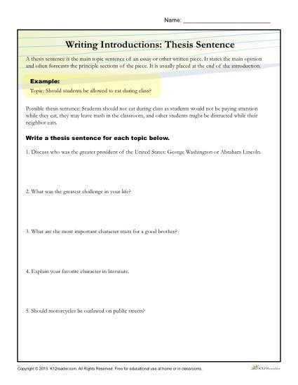 Practice developing thesis statements with this writing introduction worksheet! Click here to view and print the worksheet for home or class use.