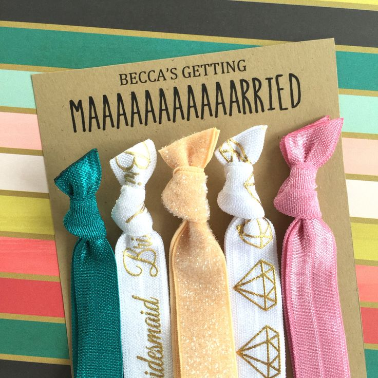 Bridesmaid Gift and Bachelorette Party Favor - California Bridesmaid Set of 5 Hair Ties / Hair Bands - Teal, Tan Glitter, Pink, Gold Diamond by BlueberryHairTies on Etsy