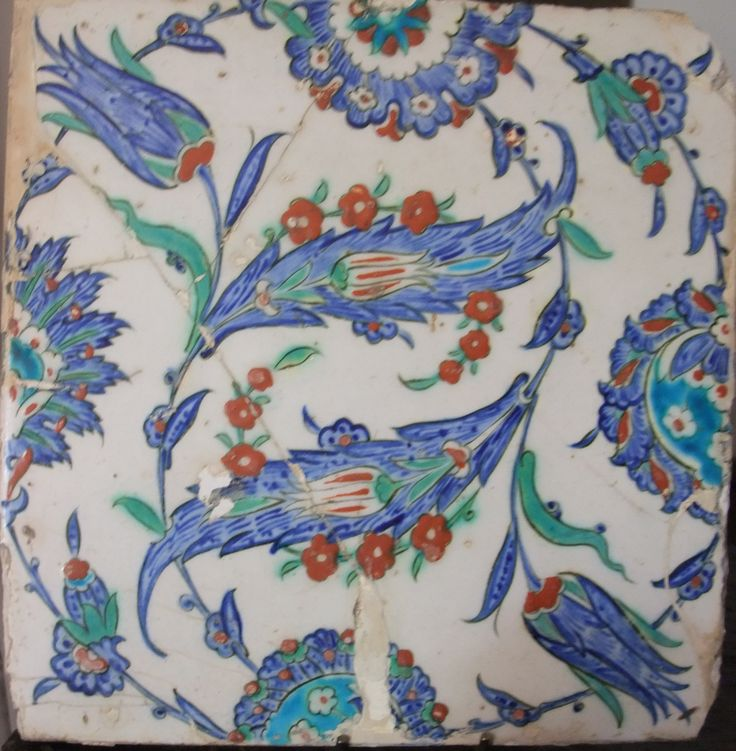 16th-17th Century Iznik tile showing stylized tulips, saf leaves and carnations. Bought in 1992 at auction in The Netherlands.