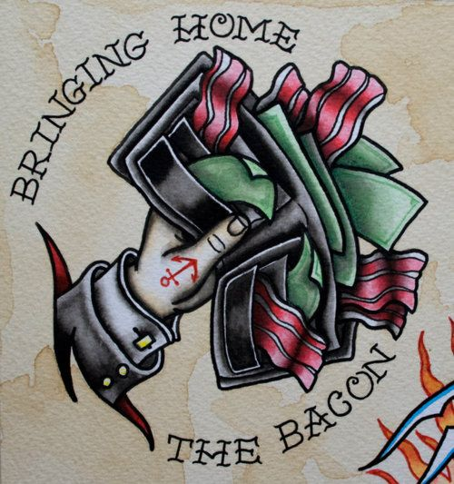 Bring home the bacon! // tattoo flash // traditional tattoos // water color