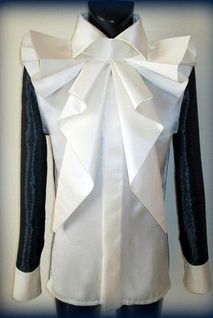 Shop Silk Blouse with Jaquard Sleeve by  Mike Dombrowski  Couture now on nelou.com. Plus 8100 more designs.