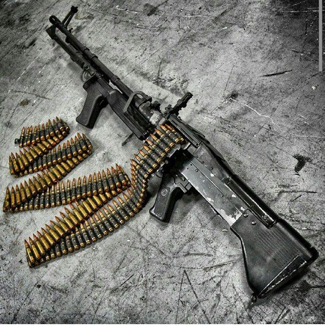 The PIG :) The M60 machine gun at @otbfirearms. Belt-fed badassery. - - Via   Light machine gun. Guns. Military guns